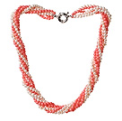 Trendy Style Multi Strands Pink Coral And White Pearl Twisted Necklace With Moonlight Clasp