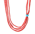 Fashion Multi Layer Orange Coral Beads Necklace With Butterfly Turquoise Charm under $ 40