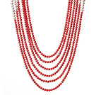 Graceful Multi Layer Round Coral Beads And White Pearl Party Necklace under $ 40