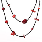 Fashion Lange Style Onregelmatige vorm Red Coral en Crystal Ketting