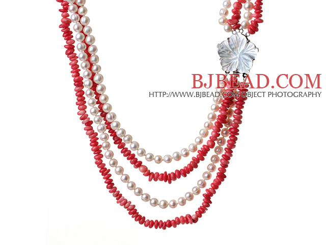 Gorgeous Multi Layer Red Coral And Natural White Pearl Party Necklace With Shell Flower Clasp