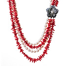 Gorgeous Multi Layer Red Coral Chips And Natural White Pearl Party Necklace With Shell Flower Clasp