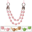 3 stuks Fashion Double Layer Roze Groen Bruin Acryl Kralen En Clear Crystal Necklace