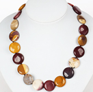Flat Round Silver Leaf Agate Stone Necklace with Moonligth Clasp