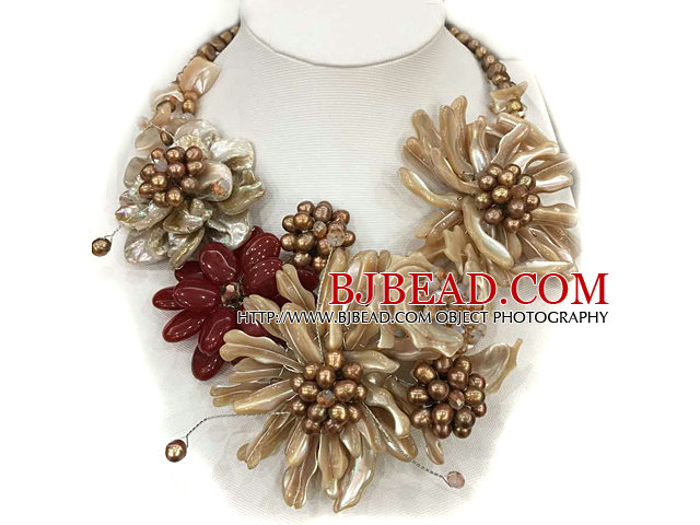 Fantastic Statement Brown Series Natural Pearl Shell Flower Party / Weddomg Necklace