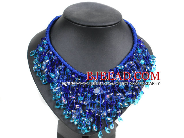 Marvelous Statement Blue Series Natural Freshwater Pearl Crystal Hand-Knitted Bib Necklace