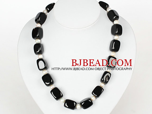 Cube Black Agate and White Pearl Necklace with Moonligth Clasp