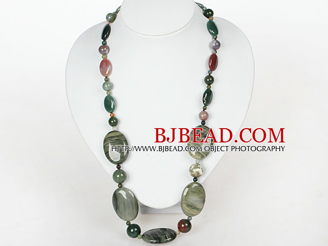 Medium Necklace Indian Agate and Green Rutilated Quartz Necklace