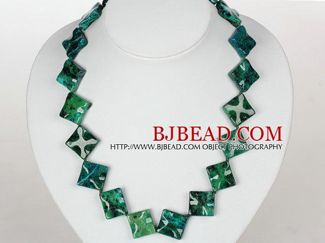 Rhombus Shape Phoenix Stone Necklace with Moonlight Clasp