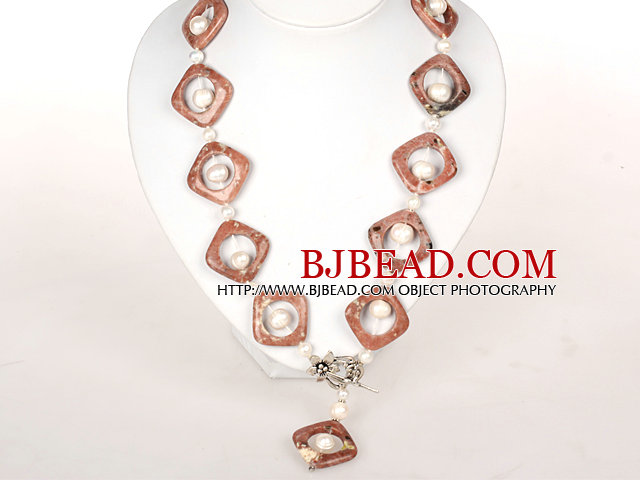 White Pearl and Pink Picture Jasper Stone Necklace