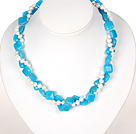 Double Strands White Pearl and Blue Jade Necklace with Heart Clasp