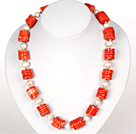 Disc Shape Red Coral and White Pearl Necklace with Moonlight Clasp under $ 40