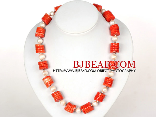 Disc Shape Red Coral and White Pearl Necklace with Moonlight Clasp