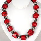 Irregular Shape Red Coral Necklace with Tibetian Silver Accessories under $ 40