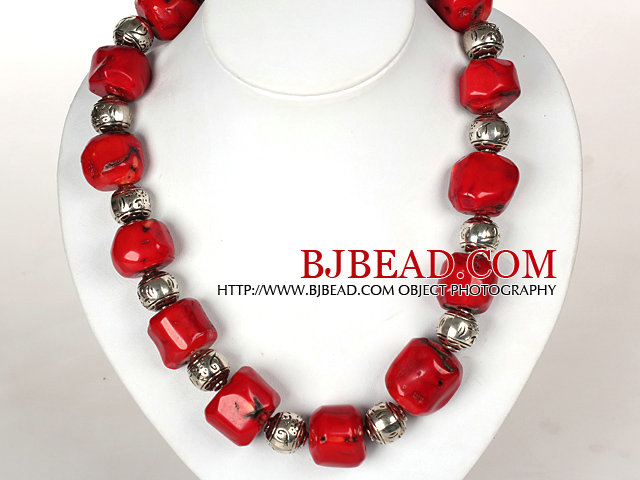 Irregular Shape Red Coral Necklace with Tibetian Silver Accessories