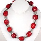 Drum Shape Red Coral Necklace with Tibetian Silver Flower Accessories under $ 40
