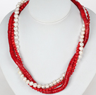 Three Strands White Pearl and Red Coral Necklace with Moonlight Clasp