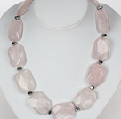 Chunky Necklace Big Rose Quartz Stone Necklace with Moonlight Clasp under $ 40