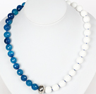 Beads Necklace 12mmm Faceted Blue Agate and White Sea Shell Beaded Necklace