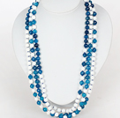Long Necklace 8mm Faceted Blue Agate and White Porcelain Stone Beads Necklace