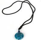 Round Hand Carved Blue Agate Pendant Necklace with Black Cord