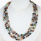 Multi Strands Multi Color Freshwater Pearl Necklace with Magnetic Clasp