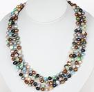 Multi Strands Multi Color de agua dulce collar de perlas con cierre magnético