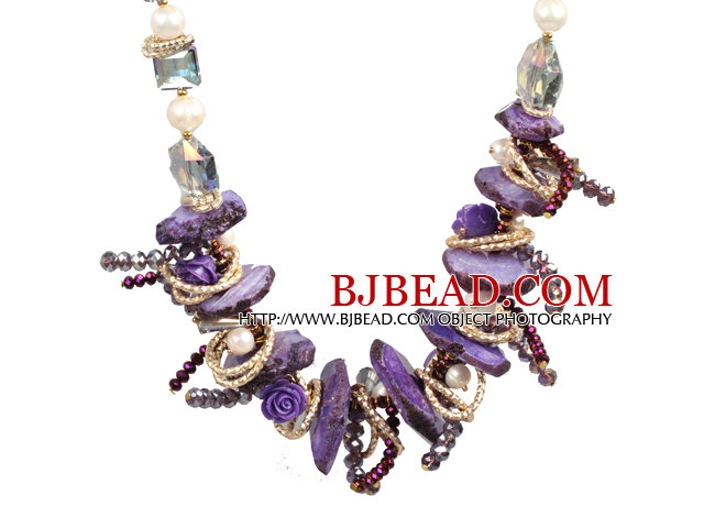 Speical Design Beautiful Purple Series Natural Freshwater Pearl Crystal Crystallized Agate Chunky Necklace