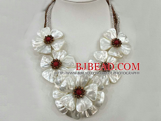 Fantastic Statement White Shell Flower Clear and Brown Crystal Party / Weddomg Necklace