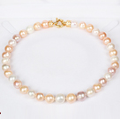 12-14mm Natural Round White Freshwater Pearl Beaded Necklace for Women