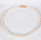 11-12mm Natural Round White Freshwater Pearl Beaded Necklace for Women