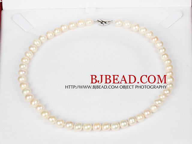 8-9mm Natural Round White Freshwater Pearl Beaded Necklace for Women