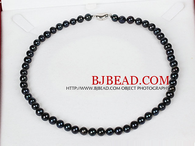 7-8mm Natural Round Black Freshwater Pearl Beads Necklace for Women
