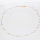 5.5-6mm Natural Round White Seawater Pearl Necklace with 18K Gold Chain