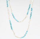 Fashion Long Necklace 6-7mm White Freshwater Pearl and Sky Blue Crystal Necklace