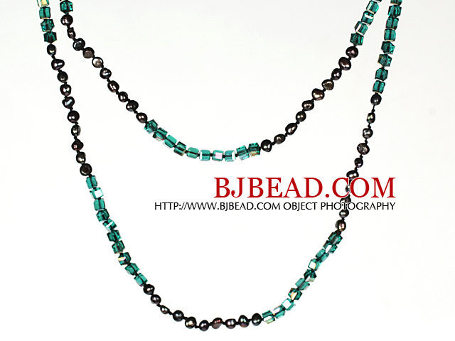 Necklace Long Style 6-7mm Black Pearl and Lake Green Crystal Chain Necklace