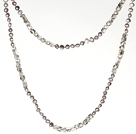 Long Necklace Chain 6-7mm Gray Pearl and Smoky Color Crystal Necklace