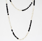 Long Style Necklace 6-7mm White Pearl and Black Crystal Beads Necklace