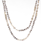 6-7mm Gray Pearl and Smoky Color Crystal Long Style Necklace For Women