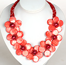 Watermelon Red Color Crystal and Shell Flower Party Necklace under $ 40