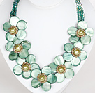 Light Green Color Crystal and Shell Flower Party Necklace under $ 40
