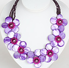 Purple Color Crystal and Shell Flower Party Necklace