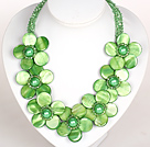 Green Color Crystal and Shell Flower Party Necklace