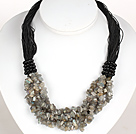 Negrita Collar Multi Strands intermitente Piedra Necklace