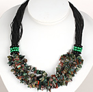 Bold Necklace Multi Strands Indian Agate Chips Necklace