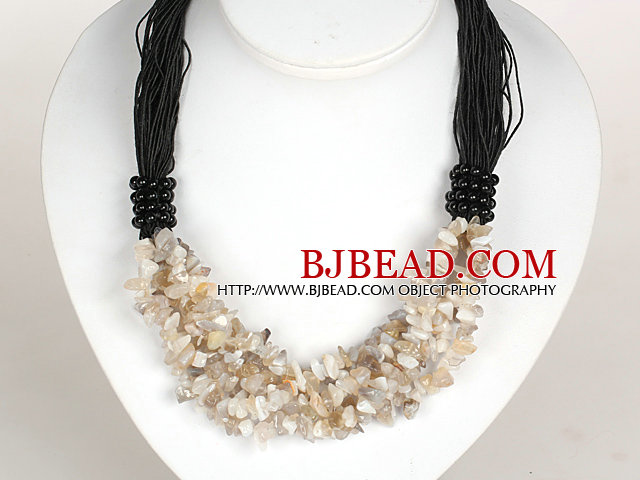 Bold Necklace Multi Strands Gray Agate Chips Necklace