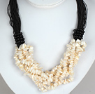 Bold Necklace Multi Strands White Shell Chips Necklace