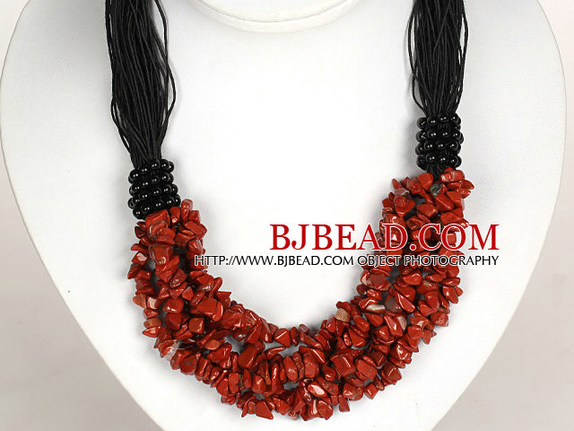 Negrita Collar Multi Strands Jaspe Rojo Necklace