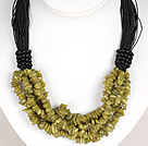 Bold Necklace Multi Strands Olive Jade Chips Necklace