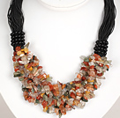 Bold Necklace Multi Strands Multi Color Rutilated Quartz Chips Necklace